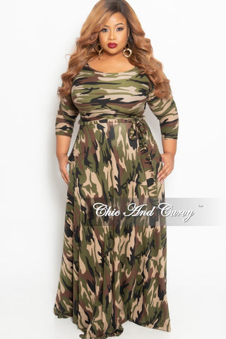 New Plus Size Faux Wrap Long Pocket Dress with Attached Tie and Puffy Sleeves in Black and White Flower Print