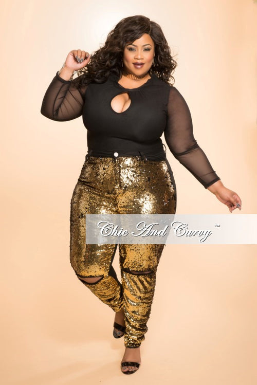 Final Sale Plus Size Top with Mesh Sleeves and Cutout in Black