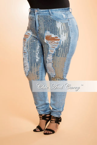 Final Sale Plus Size Jeans in Denim and Gold Sequin