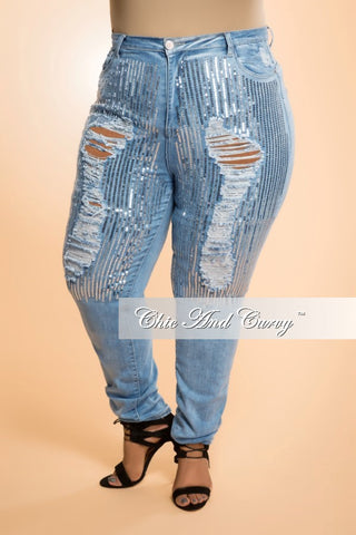 Final Sale Plus Size Jeans in Denim and Silver Sequin