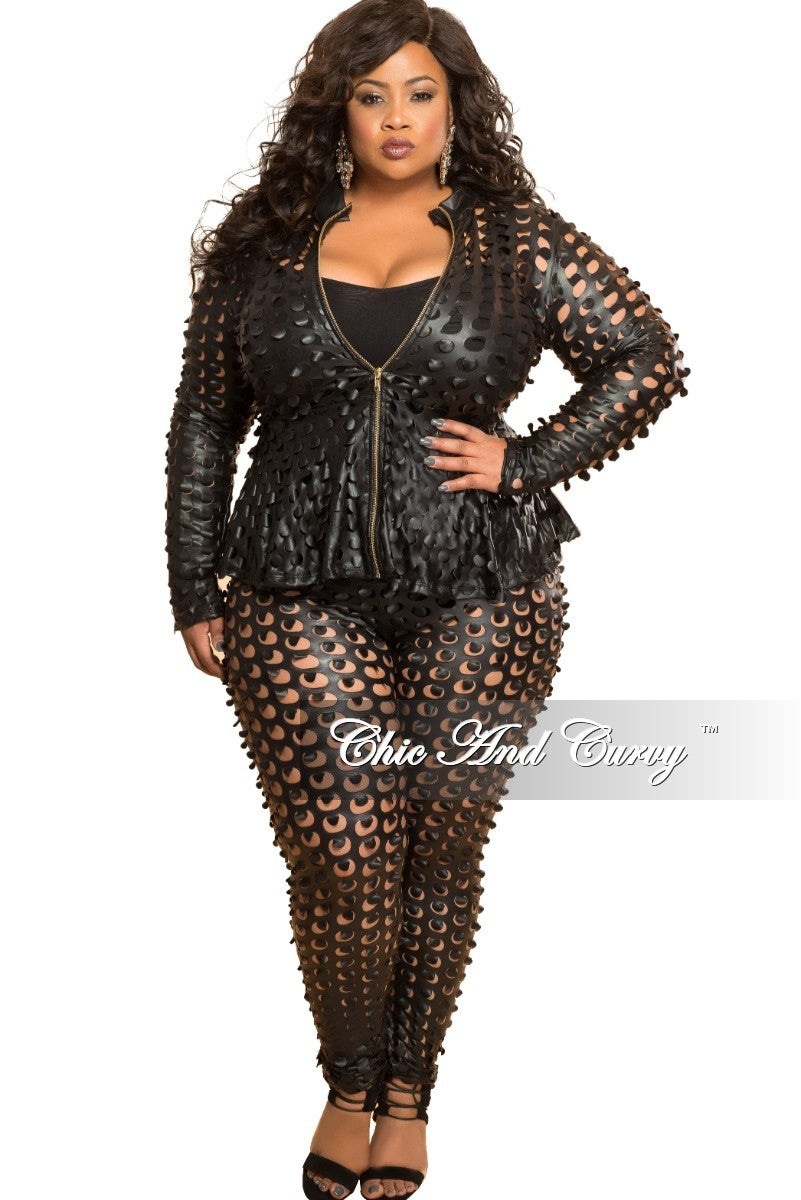 Final Sale Plus Size 2-Piece Jacket and Pant Set with Circle Laser Cutouts in Black Liquid