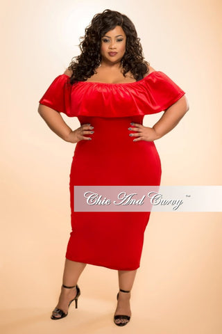 Final Sale (Seasonal) Plus Size Velour BodyCon Dress with Off the Shoulder Ruffle in Red