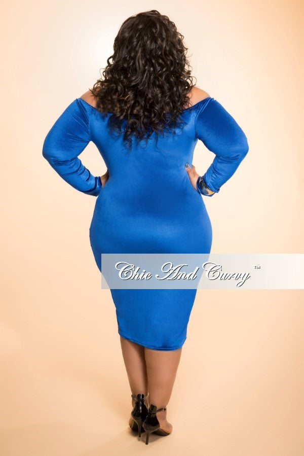Final Sale (Seasonal) Plus Size Velour BodyCon Dress with Off the Shoulder Long Sleeves in Blue