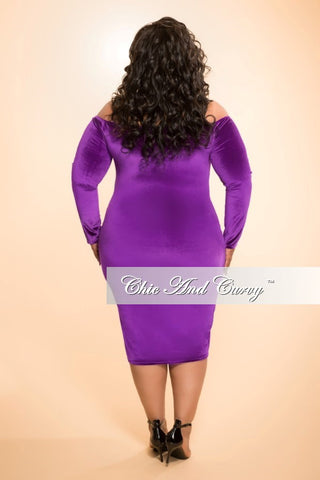Final Sale (Seasonal) Plus Size Velour BodyCon Dress with Off the Shoulder Long Sleeves in Purple