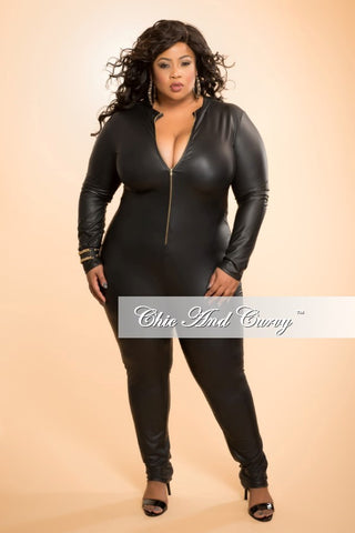 Final Sale Plus Size Liquid Jumpsuit with Zipper Front in Black
