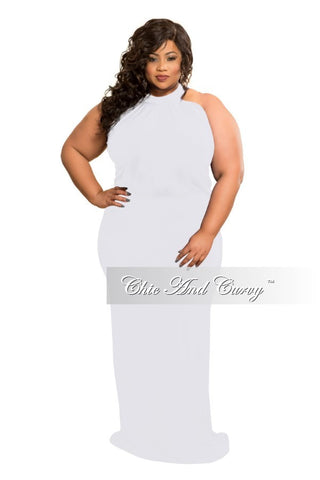 Final Sale Plus Size Floor Length Halter Maxi Dress in White
