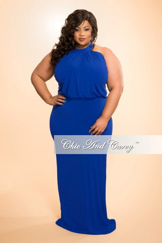 New Plus Size Floor Length Halter Maxi Dress in Royal Blue