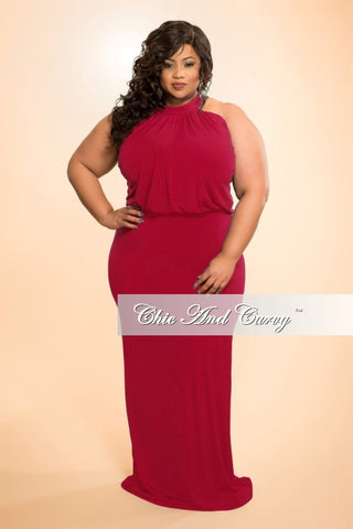 New Plus Size Floor Length Halter Maxi Dress in Red