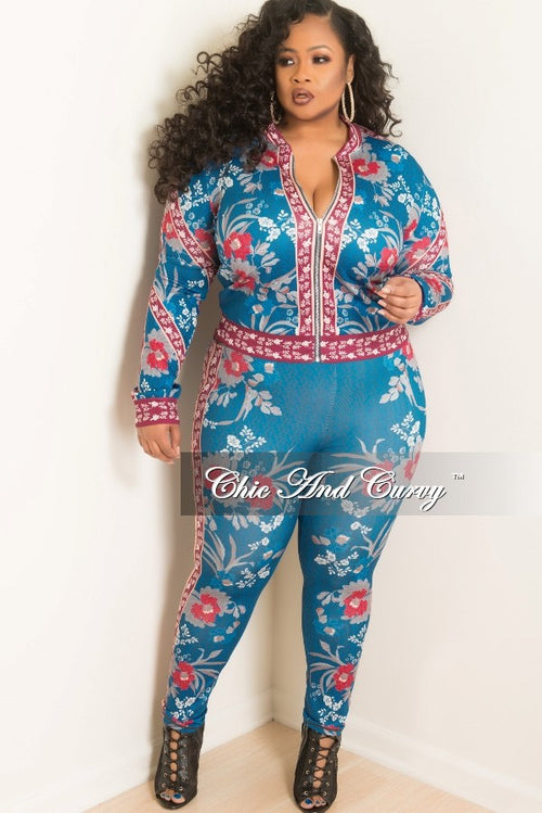 New Plus Size 2-Piece Jacket and Pants Set in Burgundy and Royal Blue Floral Print