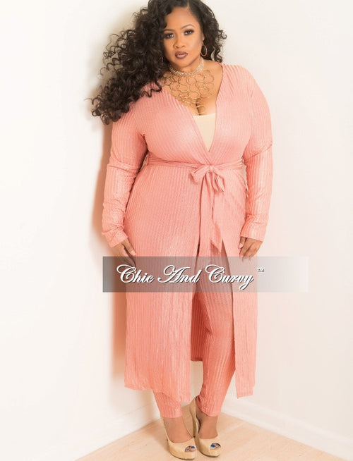 Final Sale  Plus Size 2 Piece Duster and Pants Set in Coral