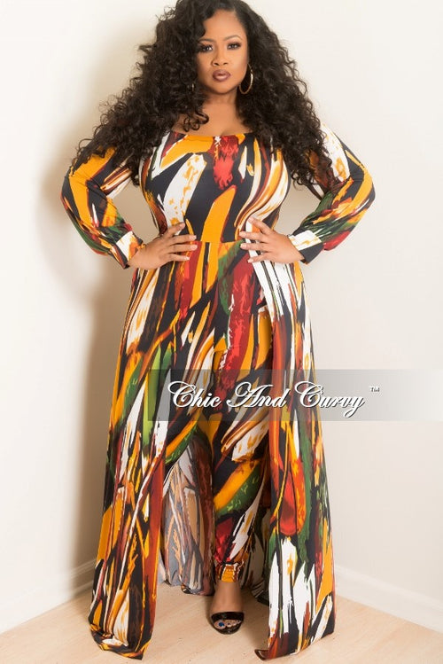 New Plus Size Jumpsuit with Attached Long Skirt in Multi Color Print