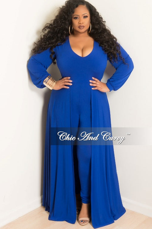 New Plus Size Jumpsuit with Attached Long Skirt in Royal Blue