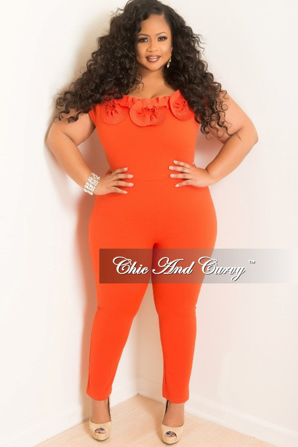 Final Sale Plus Size Jumpsuit with Top Ruffle in Orange