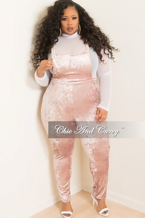 Final Sale Plus Size Velvet Overalls in Pink