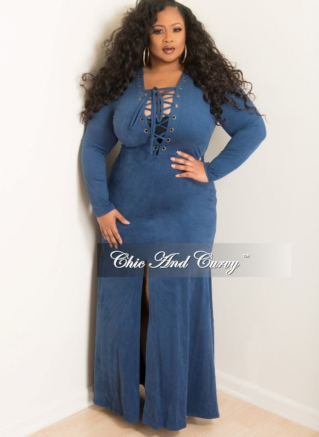 Final Sale  Plus Size Long Dress with Lace Up and Front Slit Center in Blue Faux Suede