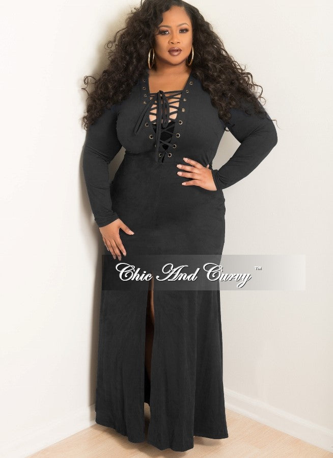 Final Sale Plus Size Long Dress With Lace Up And Front Slit Center
