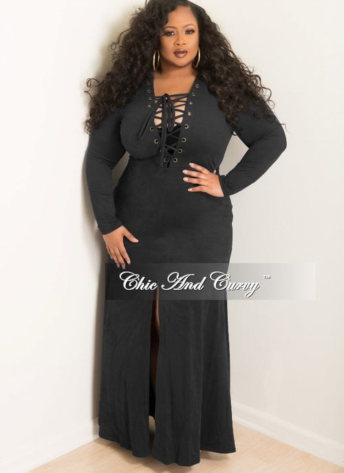 98f98a1798d Final Sale Plus Size Long Dress with Lace Up and Front Slit Center in Black  Faux