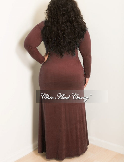 Final Sale  Plus Size Long Dress with Lace Up and Front Slit Center in Brown Faux Suede