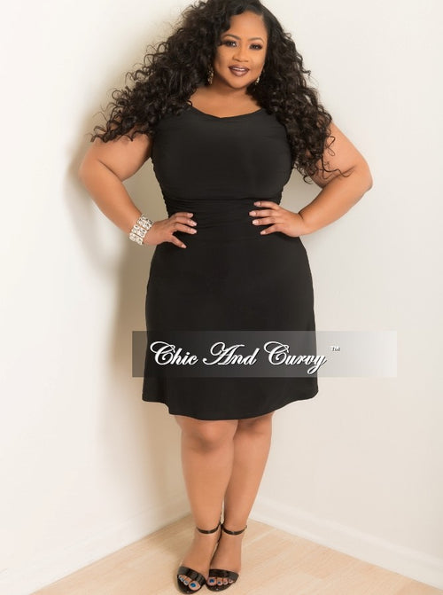 Final Sale Plus Size BodyCon w/ Cap Sleeves in Black