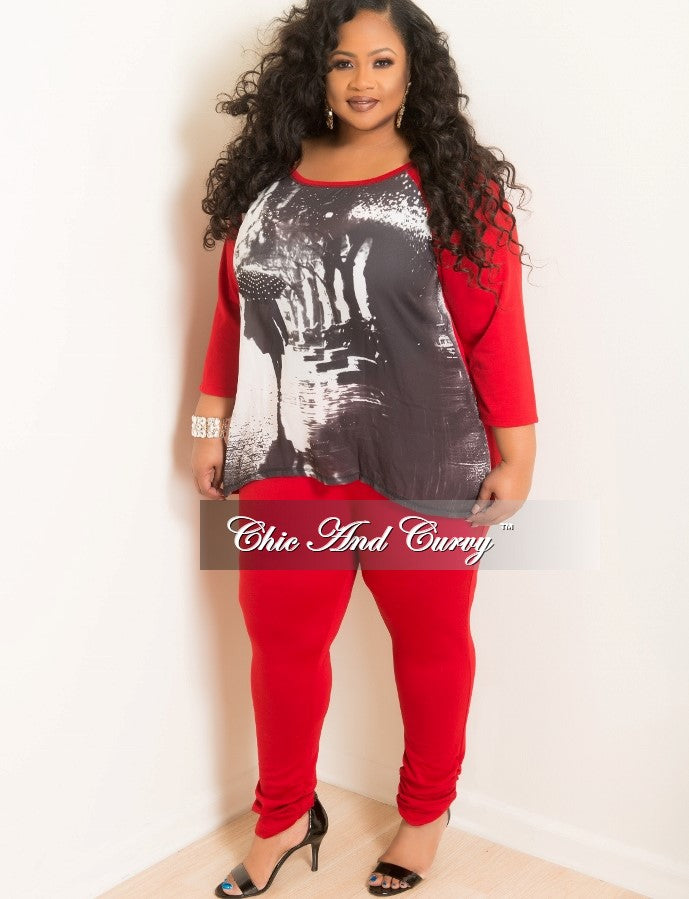 Final Sale Plus Size 2 Piece Top and Pants Lounge Wear Set in Red, Black and White