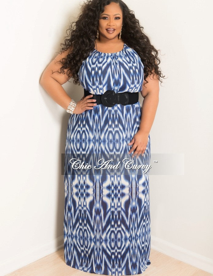Final Sale Plus Size Maxi Dress in Blue and Ivory Print