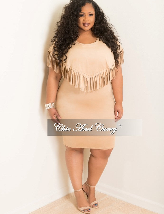 35% Off Sale - Final Sale  Plus Size Faux Suede BodyCon Dress with Top Fringe in Camel