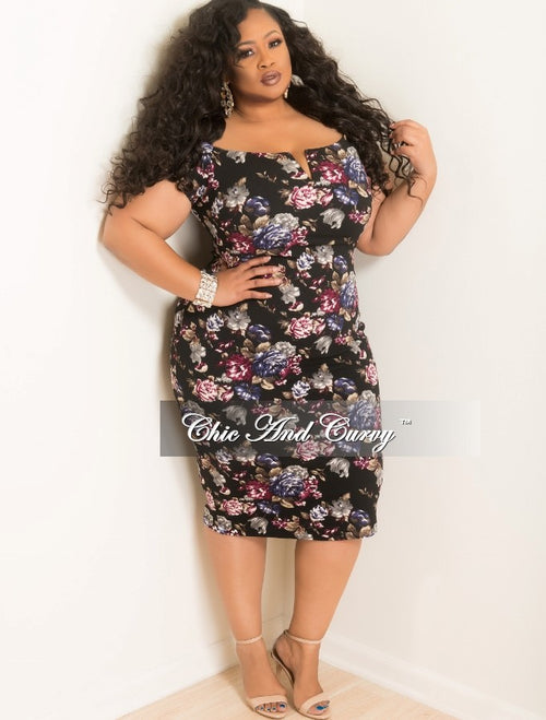 Final Sale Plus Size Off the Shoulder V-Neck BodyCon Dress in Black Floral Print
