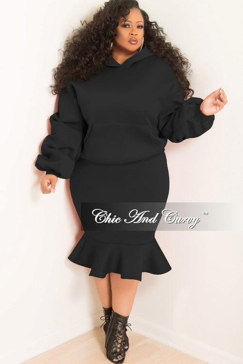 35% Off Sale - Final Sale  Plus Size Hooded Sweatshirt and Ruffle Bottom Skirt Set in Black