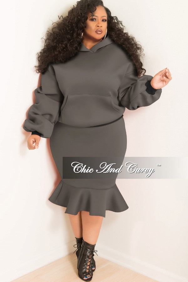 Final Sale  Plus Size Hooded Sweatshirt and Ruffle Bottom Skirt Set in Grey