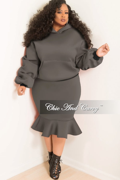 35% Off Sale - Final Sale  Plus Size Hooded Sweatshirt and Ruffle Bottom Skirt Set in Grey