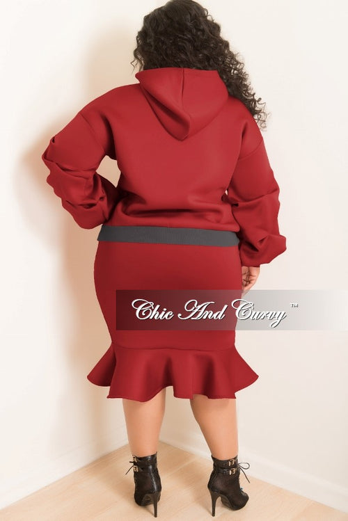 35% Off Sale - Final Sale  Plus Size Hooded Sweatshirt and Ruffle Bottom Skirt Set in Burgundy