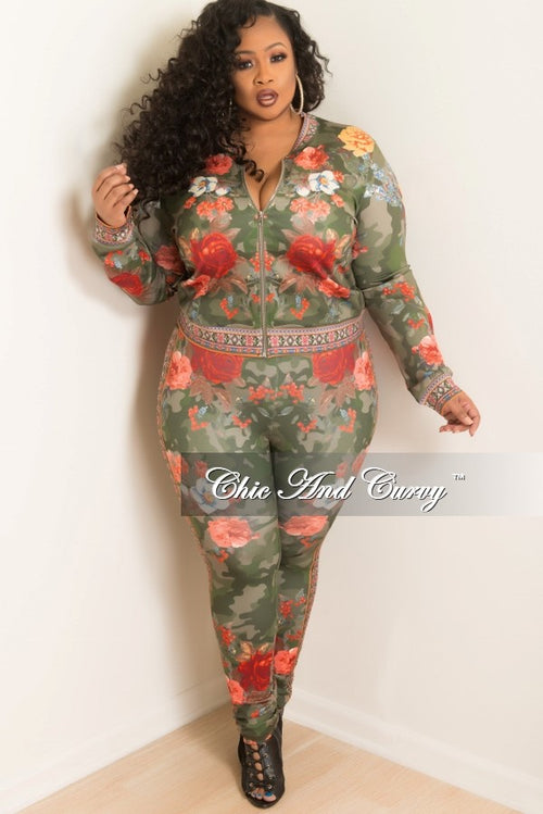 New Plus Size 2-Piece Jacket and Pants Set in Olive and Red Floral Print