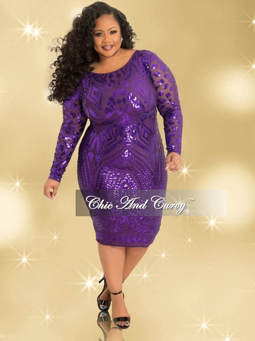 Final Sale BodyCon Sequin Dress with Zipper Back in Purple