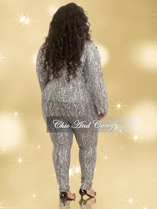 Final Sale  Plus Size 2-Piece Jacket and Pant Suit in Silver & Black Zebra Print