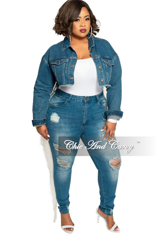 Final Sale Plus Size High Waist Distressed Denim Jeans with White Tassel Trim