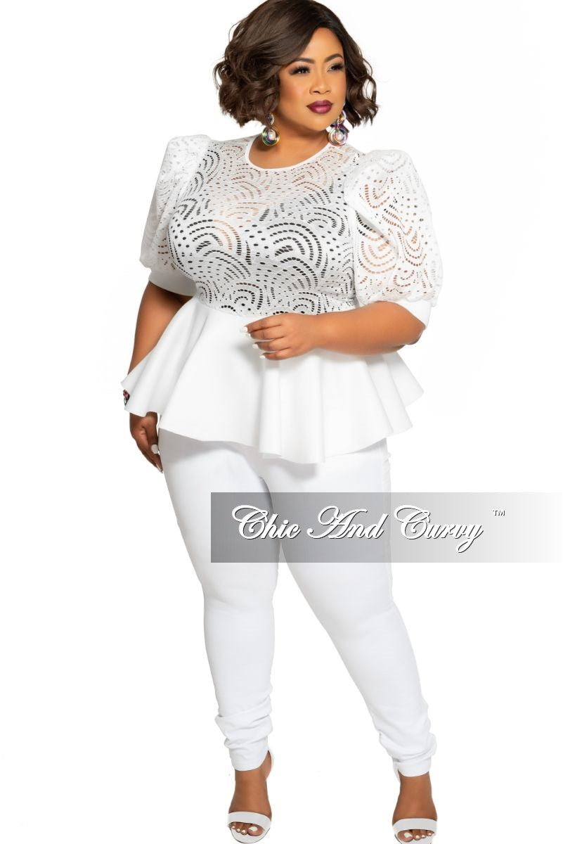 Final Sale Plus Size Lace Top with Peplum Bottom in White Scuba