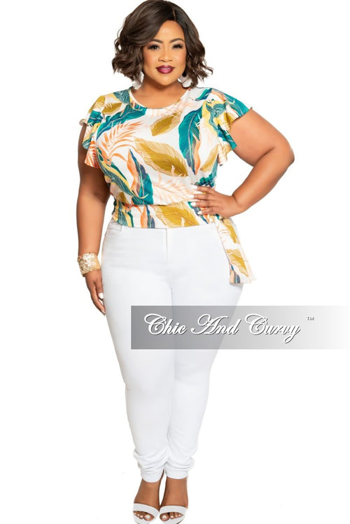 New Plus Size Side Tie Back Keyhole Top in White Multi Color Leaf Print