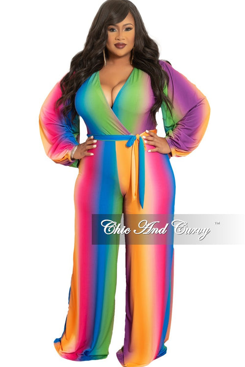 New Plus Size Long Sleeve Faux Wrap Jumpsuit with Attached Tie and Back Gold Zipper in Rainbow Print