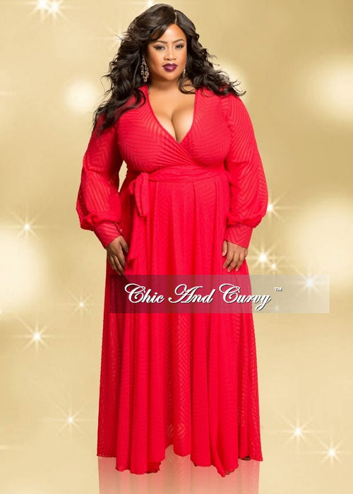 Final Sale (Seasonal) Plus Size Burnout Chiffon Dress with Faux Wrap Top and Cuffed Sleeves in Red