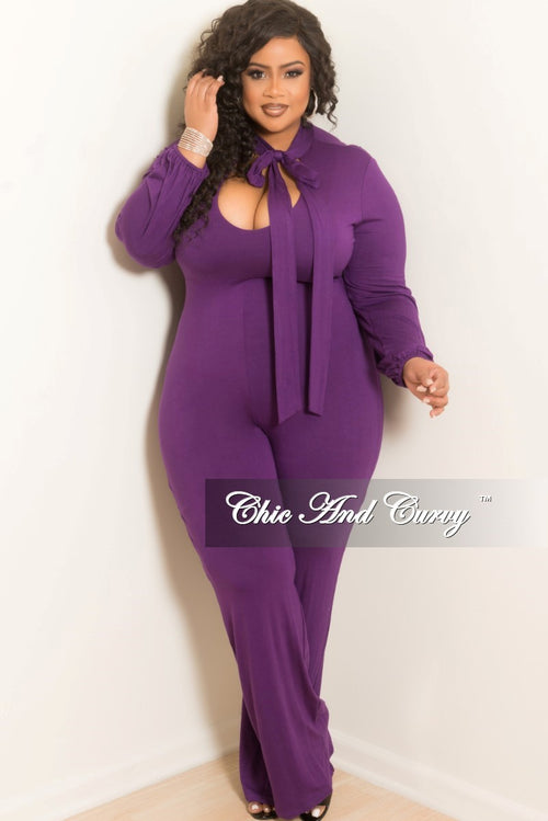 New Plus Size Jumpsuit with Long Sleeve with Neck Bow Tie in  Purple