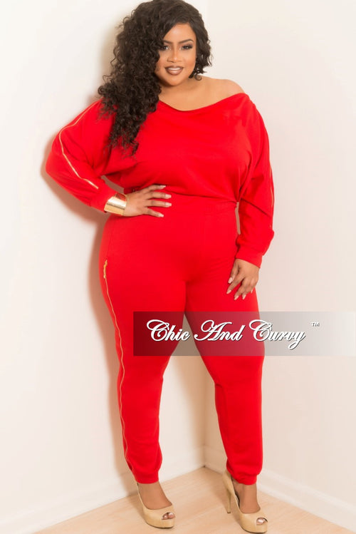 New Plus Size Off the Shoulder Jumpsuit with Gold Side Zipper in Red