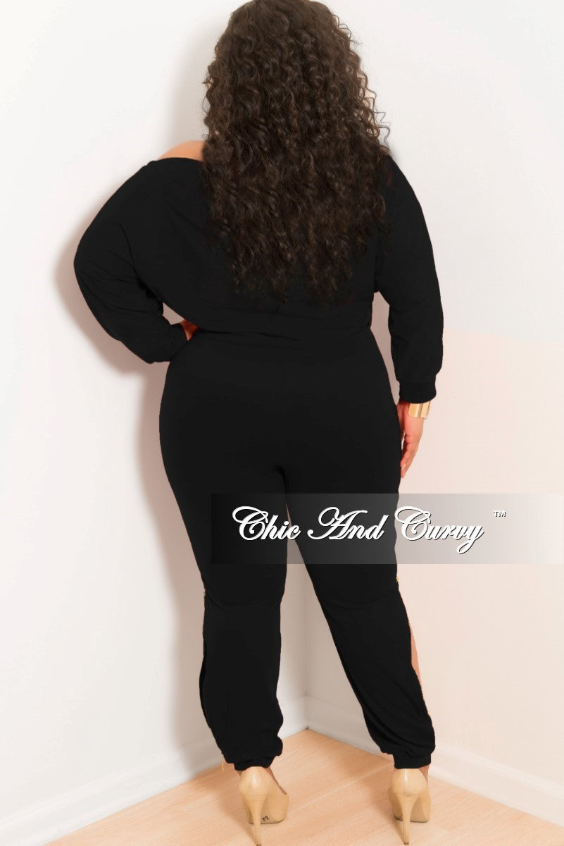 New Plus Size Off the Shoulder Jumpsuit with Gold Side Zipper in Black