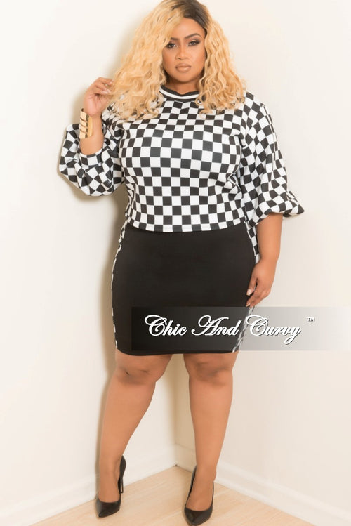 Final Sale Plus Size 2- Piece Checkered Print Puffy Sleeve Top and Mini Skirt Set in Black and White