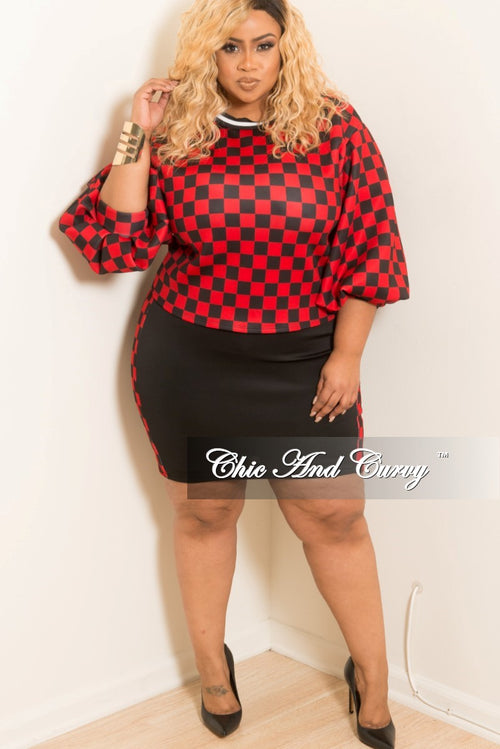 Final Sale Plus Size 2pc Checkered Print Puffy Sleeve Top and Skirt Set with White Trim in Red and Black