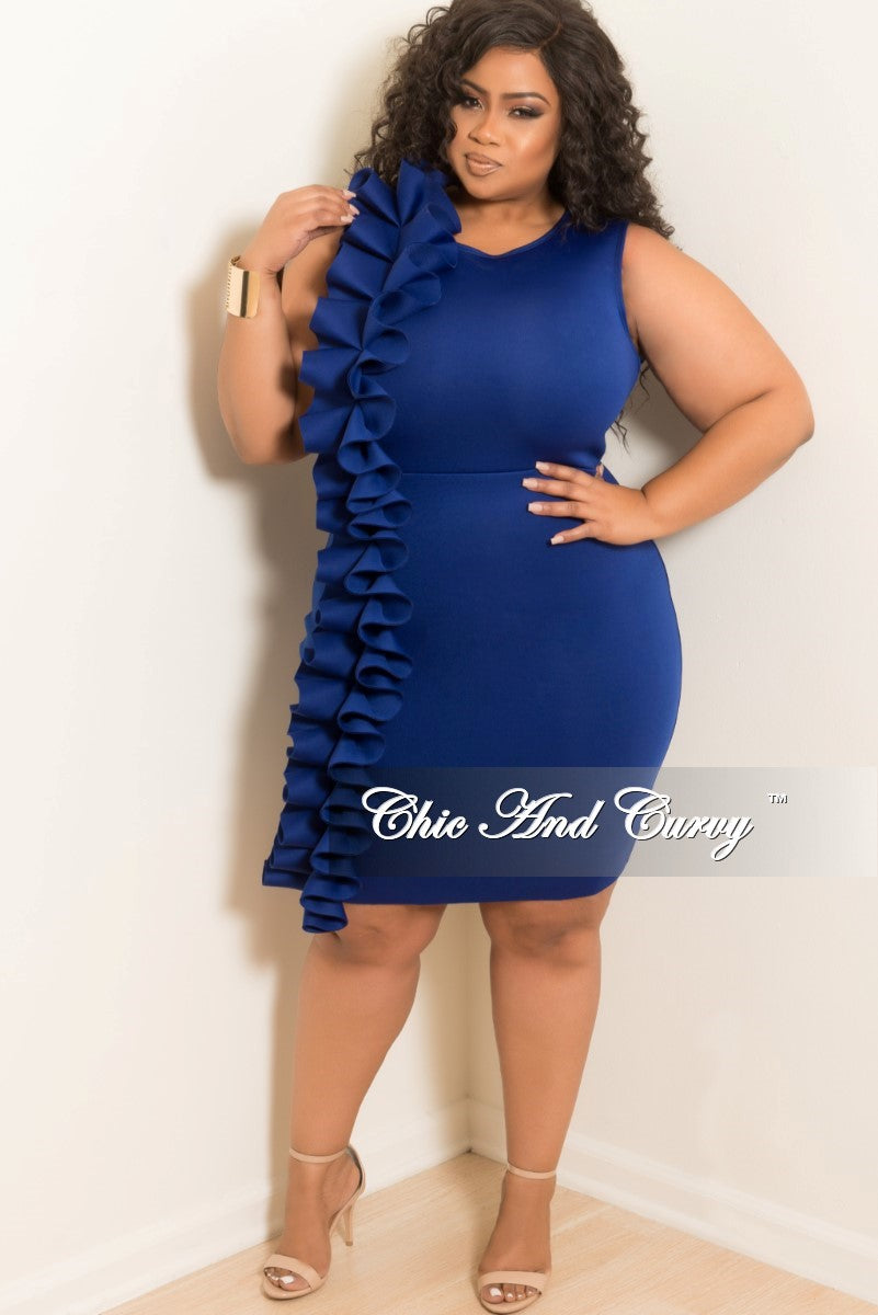 476d9b4d351 Final Sale Plus Size Sleeveless BodyCon Dress with Side Ruffle and Bac –  Chic And Curvy