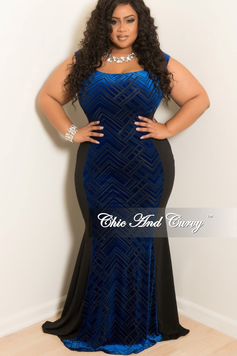 New Plus Size Off the Shoulder BodyCon Long Rocking My Curves Gown with Royal Blue and Black Velour Panel
