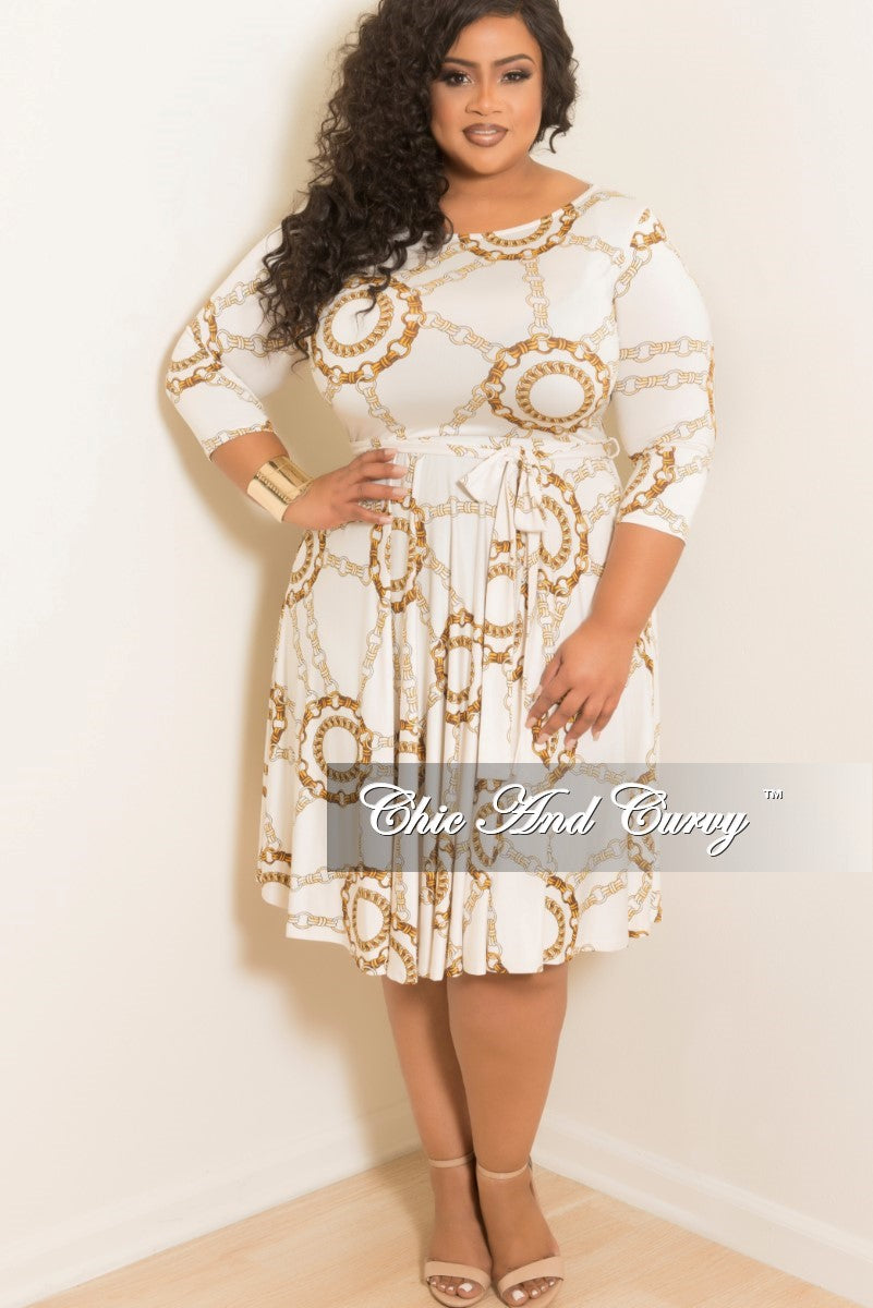 Final Sale Plus Size Pocket Chain Printed Dress With 34 Sleeves In