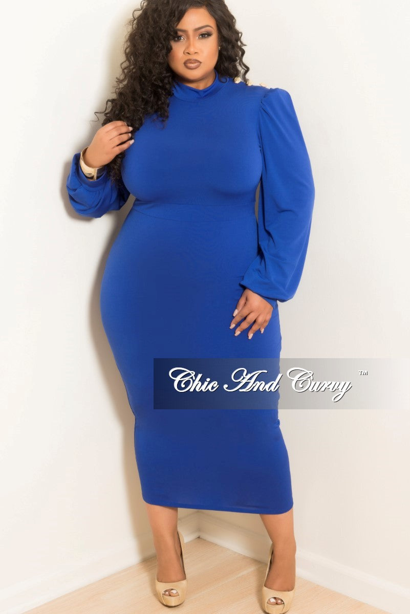 New Plus Size Long Sleeve Bodycon Dress With Gold Point Buttons On