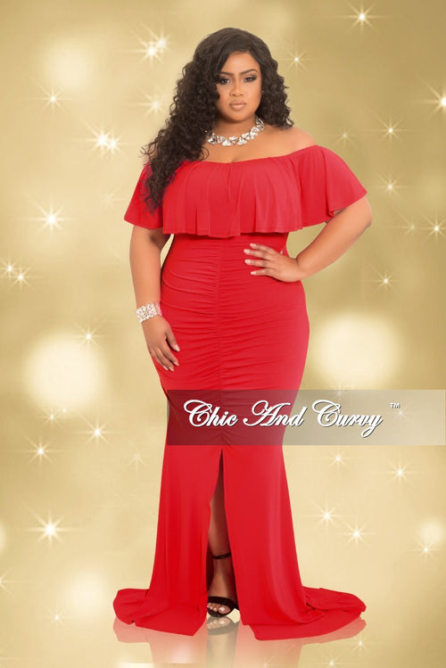 Final Sale Plus Size Ruched BodyCon Long Dress with Off the Shoulder Ruffle and Front Slit in Red