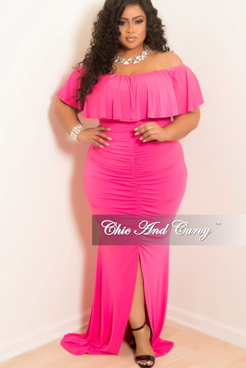Final Sale Plus Size Ruched BodyCon Long Dress with Off the Shoulder Ruffle  and Front Slit in Hot Pink